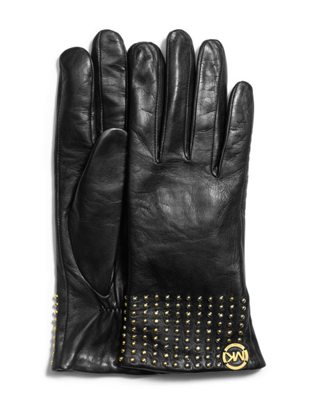 Stud-Cuff Leather Gloves