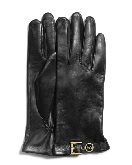 Logo-Buckle Leather Gloves