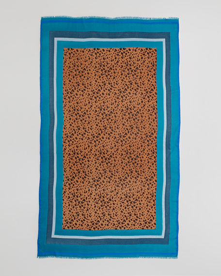Multicolor-Border Cheetah Scarf, Electric Blue