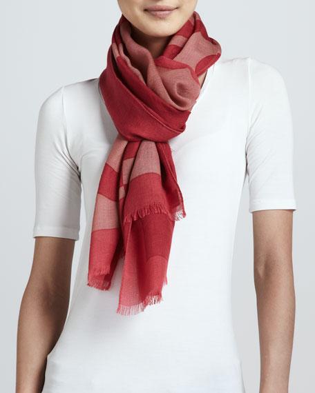 Reva T-Logo Wool Scarf, Carmine/Multi