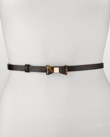 Skinny Leather Bow Belt, Black/Tortoise