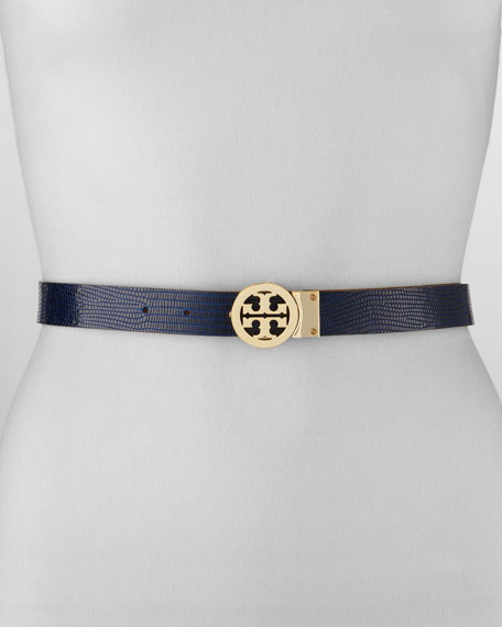 Rotating Leather Logo Belt, Brown/Navy