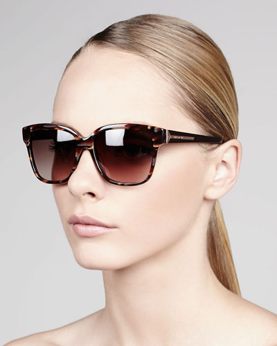 Givenchy Square Tortoise Sunglasses, Burgundy