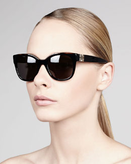 Givenchy Logo-Temple Square Sunglasses, Black/Smoke