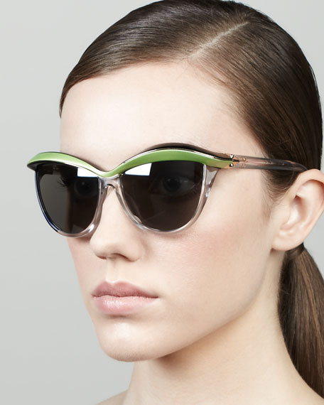 Demoiselle 1 Sunglasses, Black/Green