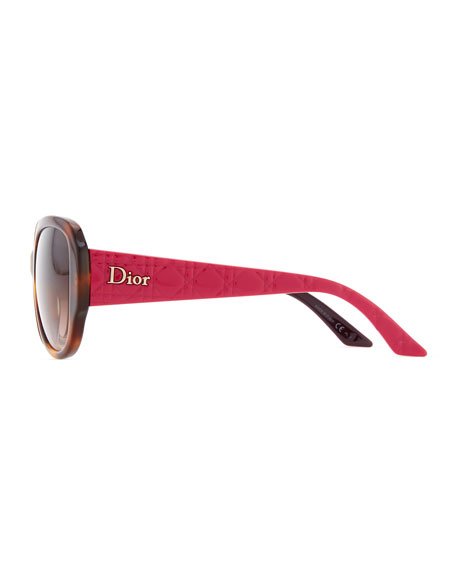 Lady in Dior Quilted-Arm Sunglasses, Havana/Plum