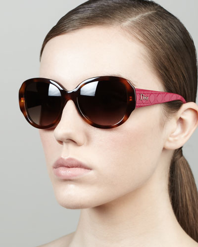 Dior Lady in Dior Quilted-Arm Sunglasses, Havana/Plum