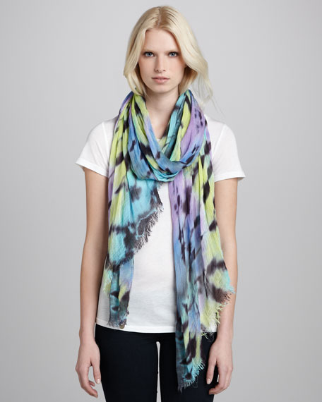 Tie Dye-Print Scarf, Purple/Green
