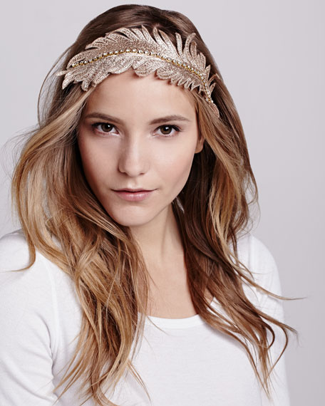 Embroidered Feather Headband, Gold