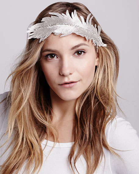 Embroidered Feather Headband, Silver