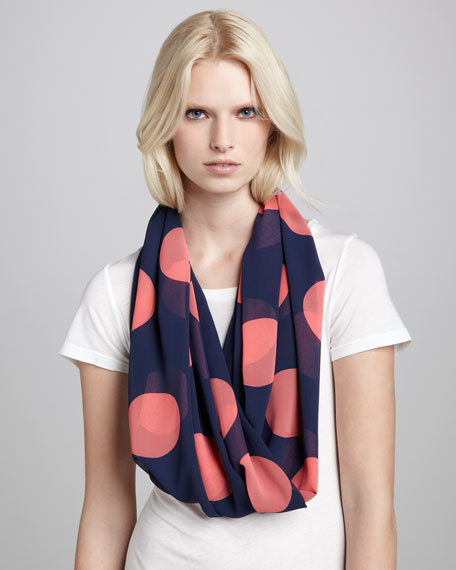 Dot-Print Infinity Scarf, Navy/Pink