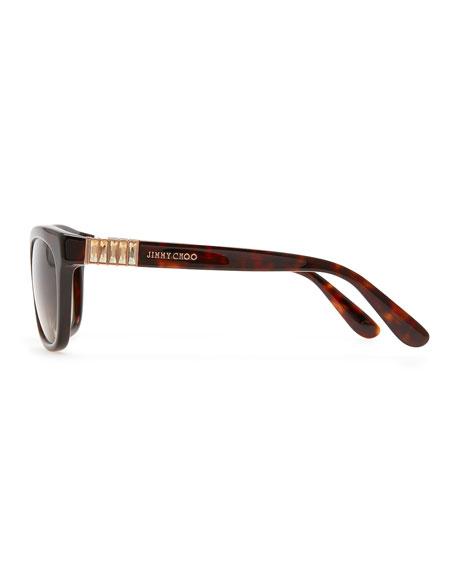 Mimi Crystal-Temple Square Sunglasses, Havana