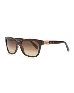 Jimmy Choo Mimi Crystal-Temple Square Sunglasses, Havana
