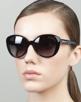 Jimmy Choo Tita Large Cat-Eye Sunglasses, Black