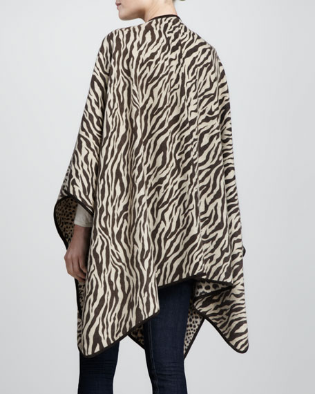 Reversible Cheetah/Zebra Wool Poncho