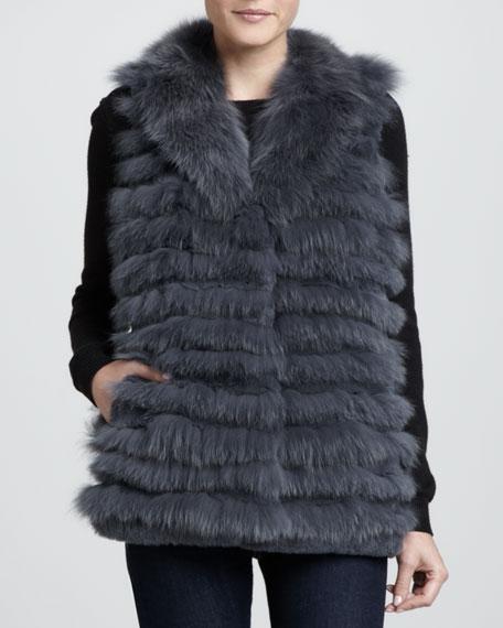 Fox & Rabbit Fur Vest, Gray