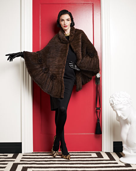 Mink Fur Rosette Cape, Brown