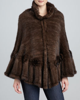 La Fiorentina Mink Fur Rosette Cape, Brown