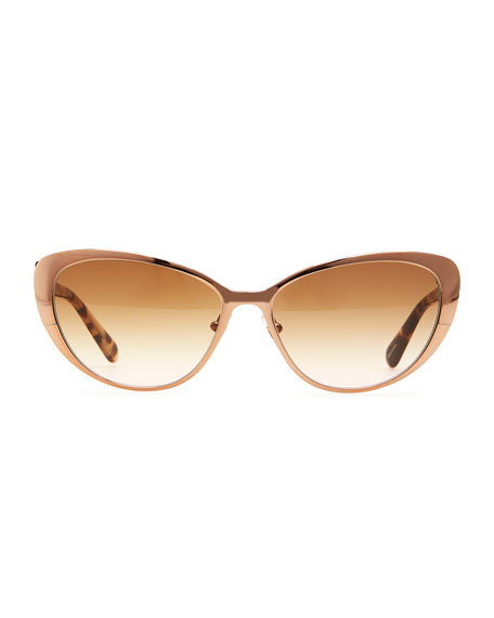 aliza cat-eye sunglasses, rose golden/tortoise