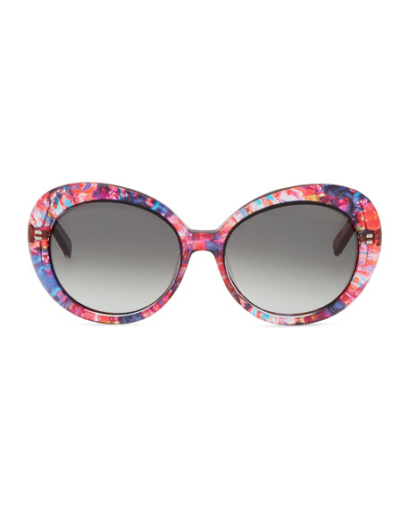 doriane watercolor round sunglasses, pink/multicolor