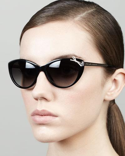 kate spade new york livia bow cat-eye sunglasses, black