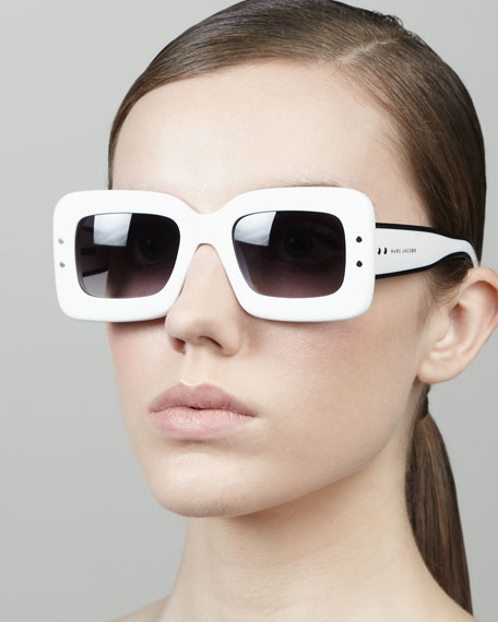 Large Square Sunglasses, White