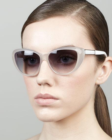 Cat-Eye Sunglasses, Opal/White