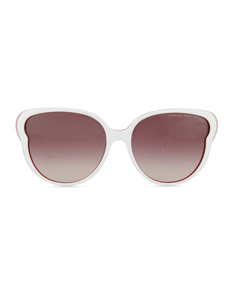 Colorblock Butterfly Sunglasses, White/Pink