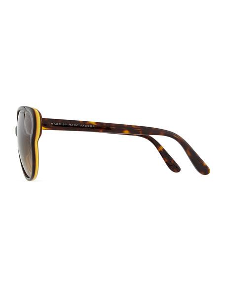 Colorblock Butterfly Sunglasses, Havana/Orange