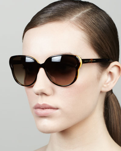 MARC by Marc Jacobs Colorblock Butterfly Sunglasses, Havana/Orange
