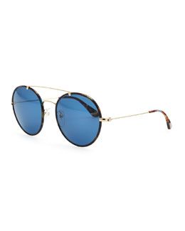 Prada Catwalk Round Aviator Sunglasses, Blue Havana