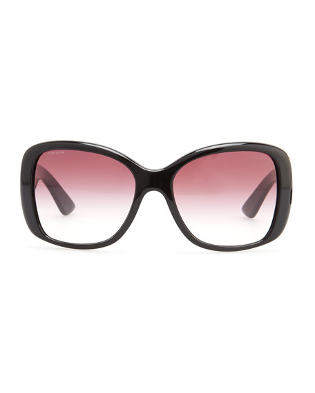 Heritage Logo Square Sunglasses, Black