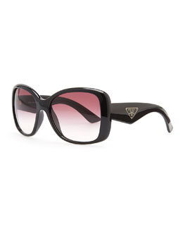 Prada Heritage Logo Square Sunglasses, Black