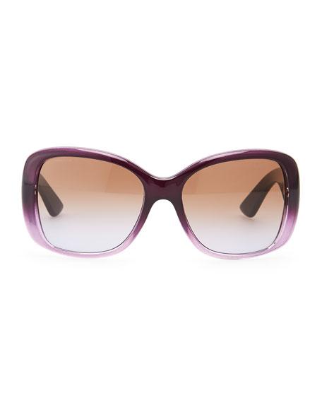 Heritage Logo Square Sunglasses, Violet