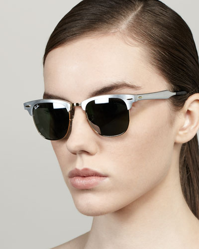Ray-Ban Mirrored Lens Metal Clubmaster Sunglasses, Silver