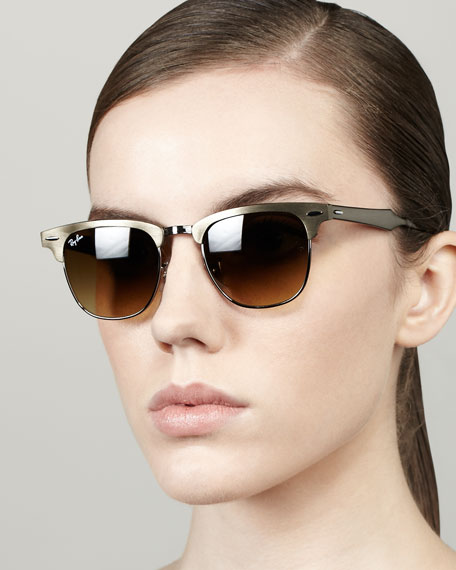 metal frame clubmaster sunglasses bronze