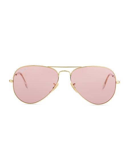 ray ban aviator pink  Ray-Ban Polarized Aviator Sunglasses, Crystal Pink
