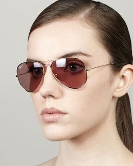 Ray-Ban Polarized Aviator Sunglasses, Crystal Pink