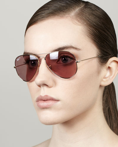 Ray-Ban Polarized Aviator Sunglasses, Crystal Pink