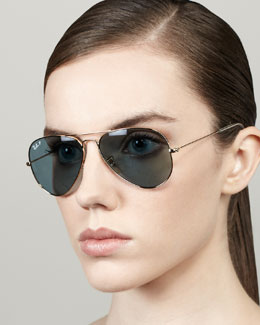 Ray-Ban Polarized Aviator Sunglasses, Sky Blue