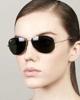 Ray-Ban Highstreet Aviator Sunglasses, Matte Gold