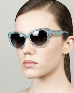 D&G Lace-Print Cat-Eye Sunglasses