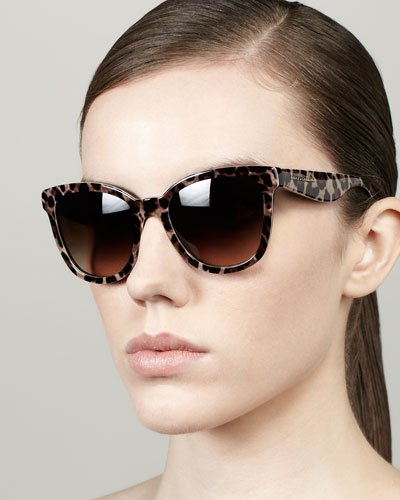 D&G Leopard-Print Square Sunglasses