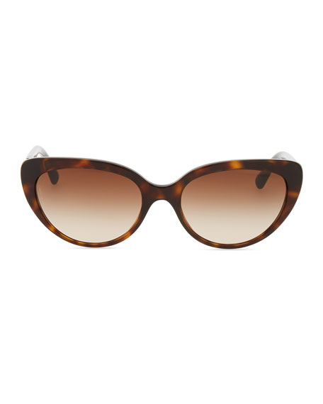 Polarized Cat-Eye Sunglasses, Havana