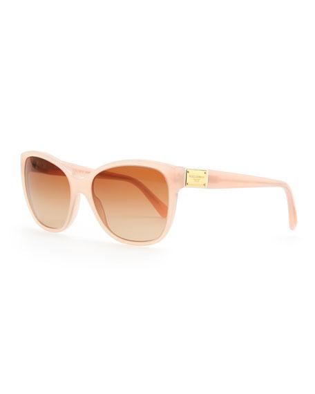 Logo-Plaque Square Sunglasses, Opal Pink