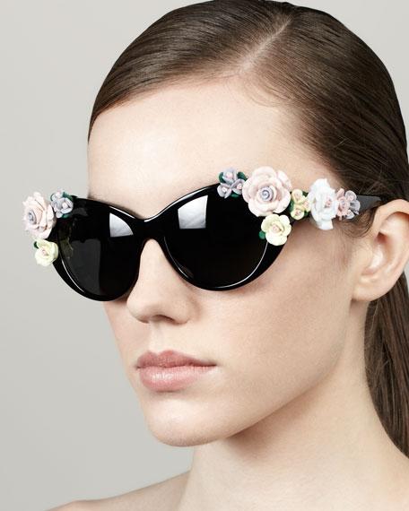 Roses Cat-Eye Sunglasses, Black
