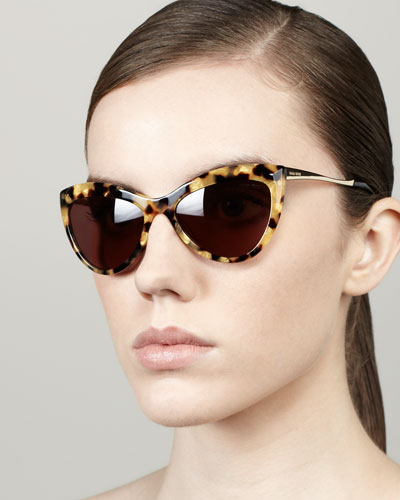 Miu Miu Large Cat-Eye Sunglasses, Golden Havana