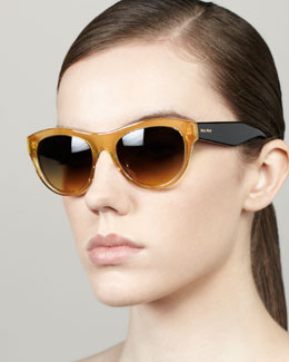 Miu Miu Large Glitter Oval Sunglasses, Golden