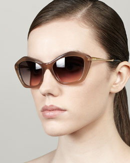Miu Miu Pentagon Cat-Eye Sunglasses, Opal/Mink