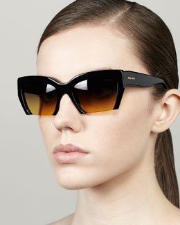Miu Miu Rasoir Cutoff Square Sunglasses, Black